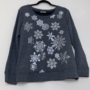 Style & Co Gray Holiday Snow Top-M